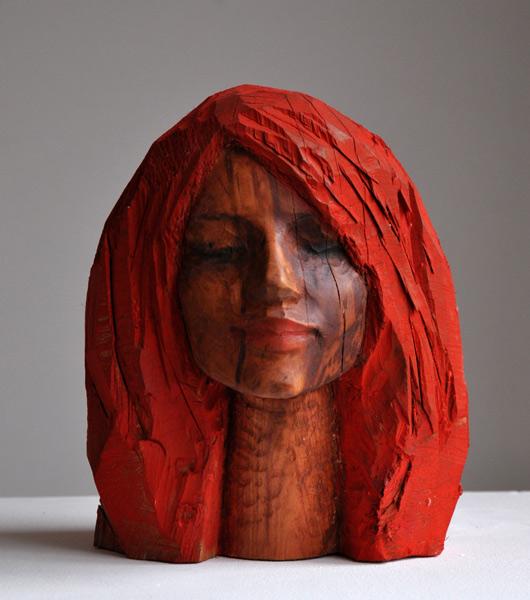 Roter Kopf, Zwetschge, Pigment, 2011, 35 cm